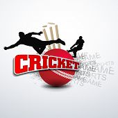stock photo of cricket bat  - Cricketers in playing action on cricket ball with text Cricket - JPG