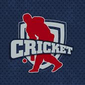 picture of cricket  - Silhouette of batsman in playing action on winning trophy background with text cricket - JPG