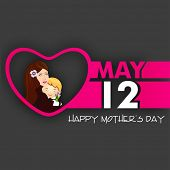 Happy Mothers Day background with text May 12 and illustration of a beautiful young mother with her