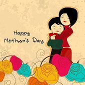 Illustration of a mother with her child on colorful flowers background for celebration of Happy Mothers Day.