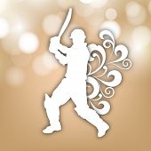 Illustration of a cricket batsman in playing action on abstract floral  background.