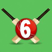 image of cricket  - Cricket concept with two bats and ball having text numeric six for shots on green background - JPG