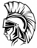 stock photo of spartan  - spartan warrior black and white vector profile  - JPG