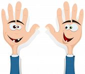 image of fellowship  - Illustration of cartoon happy funny right and left hands characters with human heads inside smiling and looking at each other for entertainment and children - JPG