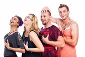 foto of transvestites  - Group of happy three men cross - JPG