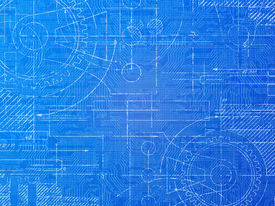 picture of mechanical drawing  - Technical blueprint electronics and mechanical background illustration - JPG