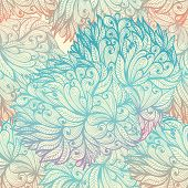 stock photo of waving hands  - Seamless floral hand drawn vintage blue cloudy pattern - JPG