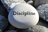 stock photo of politeness  - Positive reinforcement word Discipline engrained in a rock - JPG