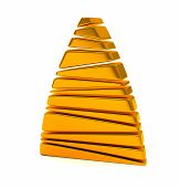 Abstract gold Christmas tree 3d