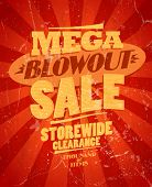 Mega blowout sale, storewide clearance design in retro style. Eps10
