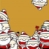 stock photo of gold tooth  - Christmas background with Santa Clauses - JPG
