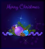 Purple Christmas Card With Baubles