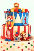 Fun circus themed birthday cake.
