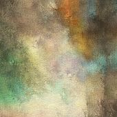 art abstract watercolor background on paper texture in light grey, beige, brown, orange and green colors