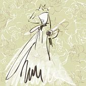 art sketch of beautiful young  bride with the bride's bouquet on floral sepia background with space for text; #49