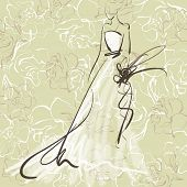 art sketch of beautiful young  bride with the bride's bouquet on floral sepia background with space for text; #53