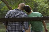 stock photo of homosexual  - gay love on the bench - JPG