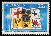 AUSTRALIA - CIRCA 1981: stamp printed by Australia, shows Queen Elizabeths Personal Flag of Australi