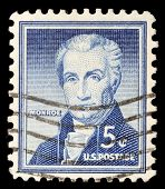 UNITED STATES - CIRCA 1954: A stamp printed in the United States shows portrait of the fifth President of the United States James Monroe (1758-1831), circa 1954