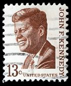 UNITED STATES OF AMERICA - CIRCA 1967: Stamp printed by United States shows President John Kennedy,