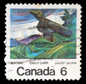 CANADA - CIRCA 1971: stamp printed by Canada, shows Big Raven, by Emily Carr, circa 1971