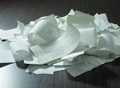stock photo of receipt  - receipts on the table top - JPG