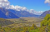 foto of hooker  - The Hooker Valley in New Zealand Viewed From the Sealy Tarns Trail - JPG