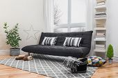 picture of futon  - Spacious living room with gray sofa and modern decor.