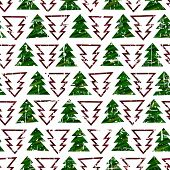 Seamless grunge green and red christmas tree texture background