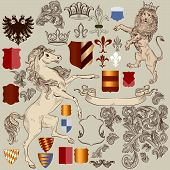 Collection Of Vector Hand Drawn Heraldic Elements In Vintage Style