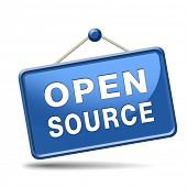 stock photo of open-source  - open source software program or economy freeware internet data computer sharing - JPG