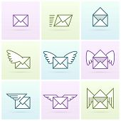 Flying email messages icon set
