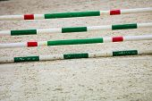 Green Red White Obstacle For Jumping Horses. Riding Competition.