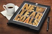 New Year goals - resolutions concept - text in vintage letterpress wood type on a digital tablet scr