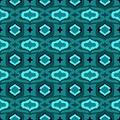 Pattern with Arabic motifs in jade and blue.