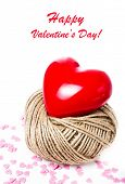 Valentines Day Card With Red Heart  On White Background Closeup. Love  Love Beautiful Concept  (with