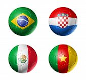Cameroon, Croatia, Brazil, Mexico, Flags On Soccer Balls