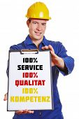 Construction worker with clipboard making advertising with German words for 100% service 100% qualit