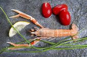 foto of norway lobster  - Marine Product Presentation And Preparation Of The Crayfish - JPG