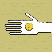 image of beggar  - Beggar hand with two coin  - JPG