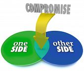 stock photo of negotiating  - Compromise Two Sides Venn Diagram Negotiate Settlement - JPG