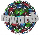 stock photo of plastic money  - Rewards Credit Card Loyalty Points Program - JPG