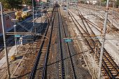 stock photo of railroad yard  - railroad rail yard with points and electric line - rails terminal of the italian railway