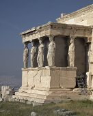 Caryatids women statues, Athens Greece