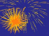 Yellow Fireworks On Blue As Abstract Background.
