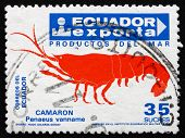 Postage Stamp Ecuador 1986 Shrimp, Export