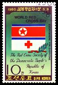 Vintage  Postage Stamp.  Emblem Of Dprk Red Cross.