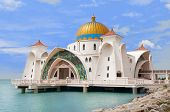 stock photo of malacca  - Malacca Straits Mosque  - JPG