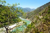 Holy Ganges river that flows in valley, India