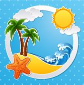 Vector illustration - Tropical island scrapbook background
